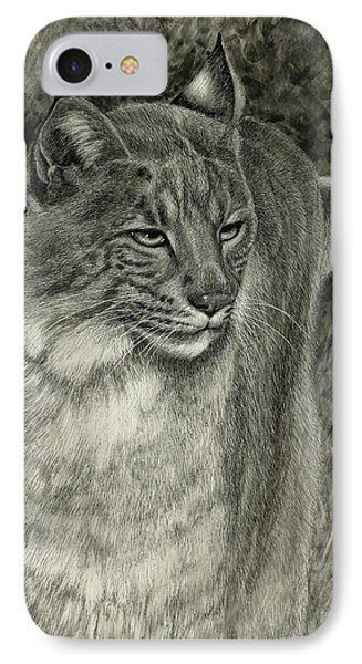IPhone Case featuring the drawing Bobcat Emerging by Sandra LaFaut