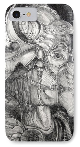 IPhone Case featuring the drawing Bogomils Duckhunting Mask by Otto Rapp
