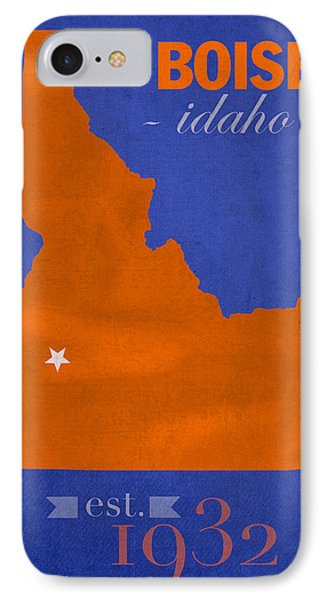 Boise State University Broncos Boise Idaho College Town State Map Poster Series No 019 Phone Case by Design Turnpike