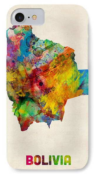 Bolivia Watercolor Map IPhone Case by Michael Tompsett