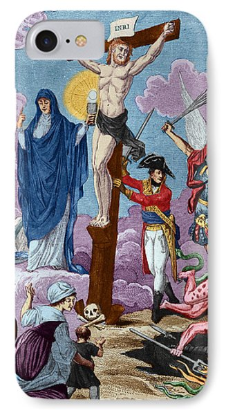 Bonaparte, Restorer Of Religion And Supporting The Cross, Allegory On The Concordat, 1802 Coloured IPhone Case