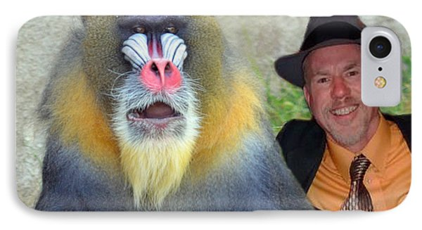 Bonding With My New Mandrill Buddy  IPhone Case by Jim Fitzpatrick