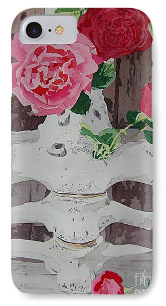 Bones And Roses IPhone Case by Terry Holliday