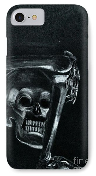 IPhone Case featuring the drawing Bones by Ayasha Loya