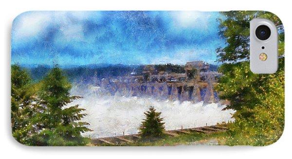 IPhone Case featuring the digital art Bonneville Dam Floodgates Open by Kaylee Mason