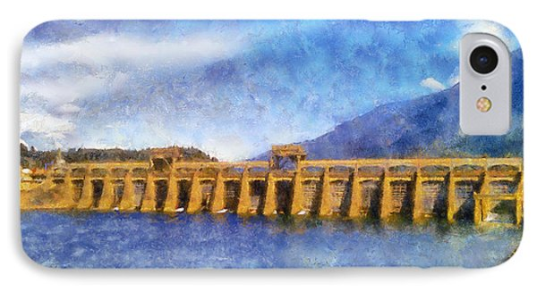 IPhone Case featuring the digital art Bonneville Dam by Kaylee Mason