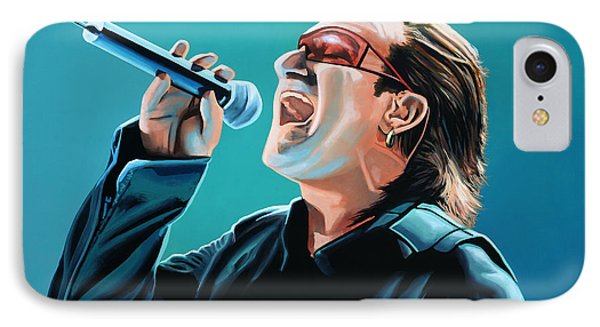 Bono Of U2 Painting IPhone Case by Paul Meijering
