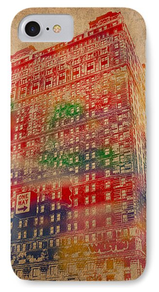 Book Cadillac Iconic Buildings Of Detroit Watercolor On Worn Canvas Series Number 3 IPhone Case