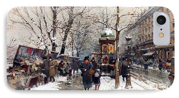 Bookstalls In Winter Paris IPhone Case
