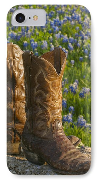 Boots And Bluebonnets IPhone Case