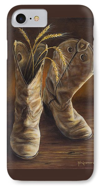 IPhone Case featuring the painting Boots And Wheat by Kim Lockman