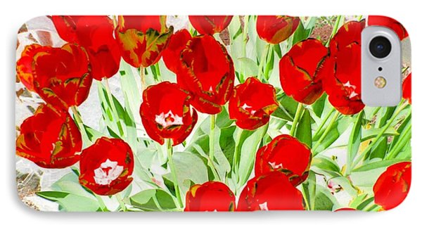 Bordered Red Tulips Phone Case by Will Borden