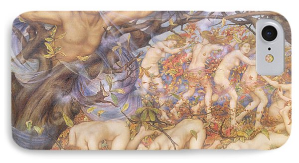 Boreas And Fallen Leaves Phone Case by Evelyn De Morgan