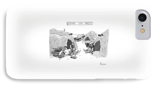 Bored Cavemen Sitting Around Next To Cars IPhone Case by Zachary Kanin
