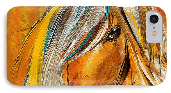 Born Free-colorful Horse Paintings - Yellow Turquoise IPhone Case