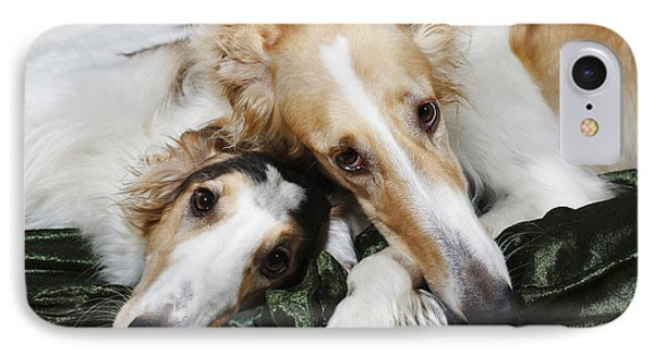 Borzoi Dogs In Love IPhone Case by Christian Lagereek