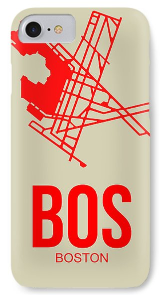 Bos Boston Airport Poster 1 IPhone Case by Naxart Studio