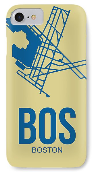 Bos Boston Airport Poster 3 IPhone Case by Naxart Studio