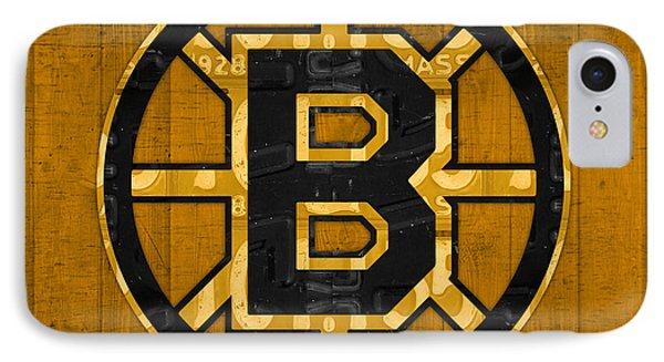 Boston Bruins Hockey Team Retro Logo Vintage Recycled Massachusetts License Plate Art IPhone Case by Design Turnpike
