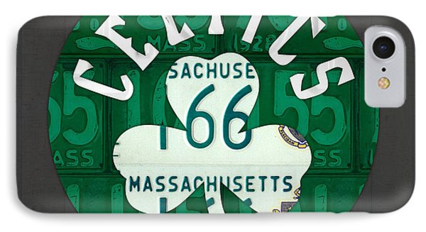 Boston Celtics Basketball Team Retro Logo Vintage Recycled Massachusetts License Plate Art IPhone Case by Design Turnpike