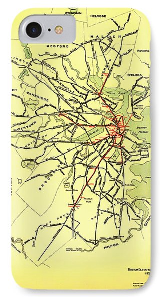 Boston Elevated Railway System Map 1921 IPhone Case by Mountain Dreams