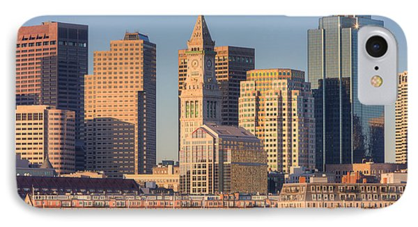 Boston Harbor And Skyline I IPhone Case by Clarence Holmes