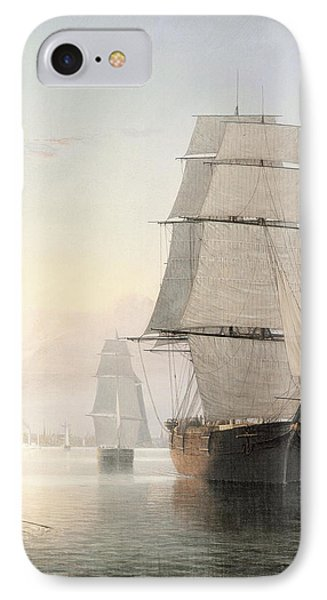 Boston Harbor At Sunset Detail 1 IPhone Case by Fitz Henry Lane