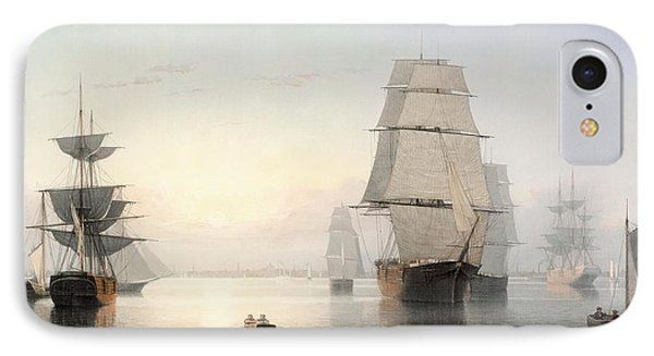 Boston Harbor At Sunset IPhone Case by Fitz Henry Lane