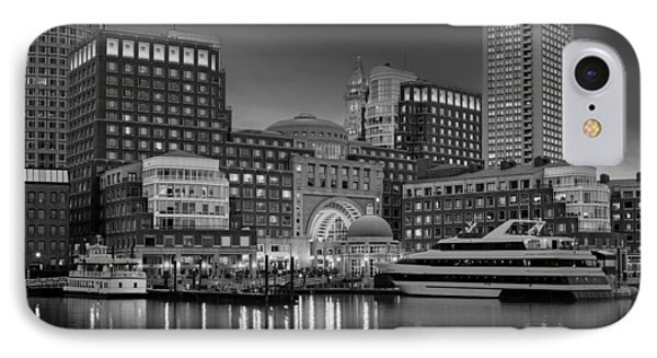 Boston Harbor Skyline And Financial District Bw IPhone Case