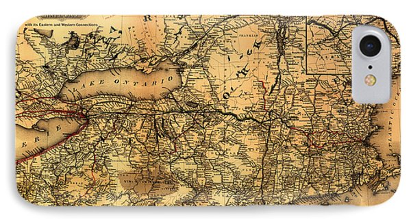 Boston Hoosac Tunnel And Western Railway Map 1881 IPhone Case by Mountain Dreams