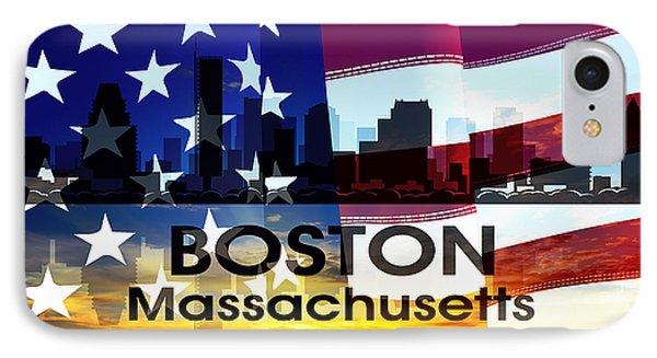 Boston Ma Patriotic Large Cityscape IPhone Case