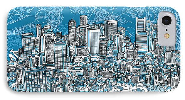 Boston Panorama Abstract 2 IPhone Case by Bekim Art