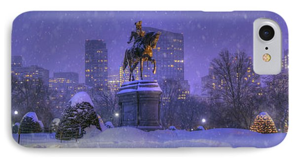 Boston Public Garden In Snow With Boston Skyline IPhone Case by Joann Vitali