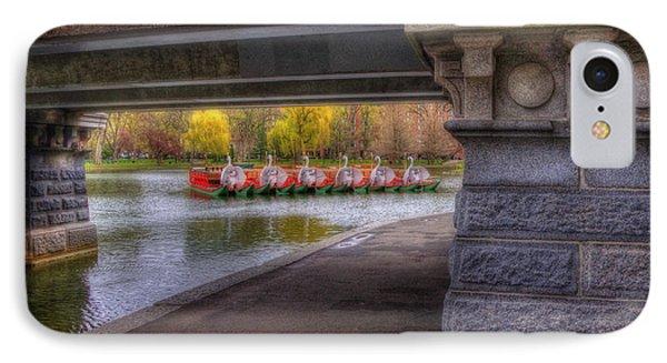 Boston Public Garden Swan Boats 2 IPhone Case by Joann Vitali