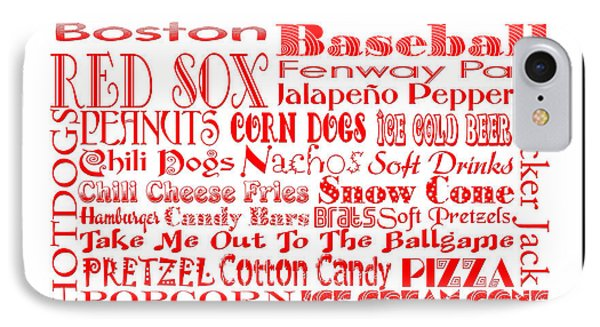 Boston Red Sox Game Day Food 3 IPhone Case by Andee Design
