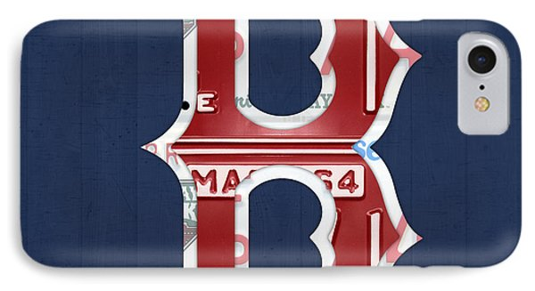 Boston Red Sox Logo Letter B Baseball Team Vintage License Plate Art IPhone Case