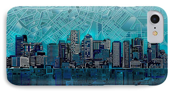 Boston Skyline Abstract Blue IPhone Case by Bekim Art