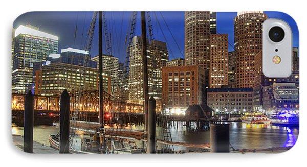 Boston Skyline And The Roseway IPhone Case by Joann Vitali