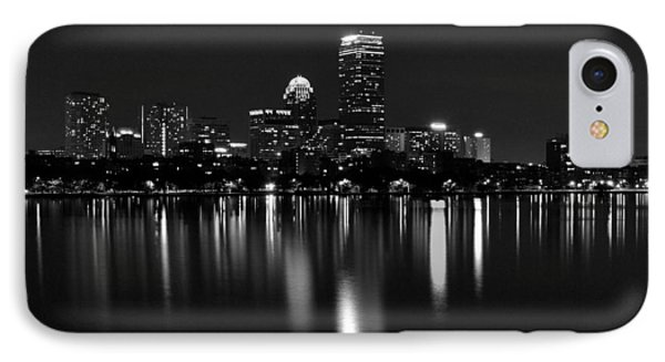 Boston Skyline By Night - Black And White IPhone Case