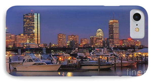 Boston Skyline In Blue And Gold Phone Case by Joann Vitali