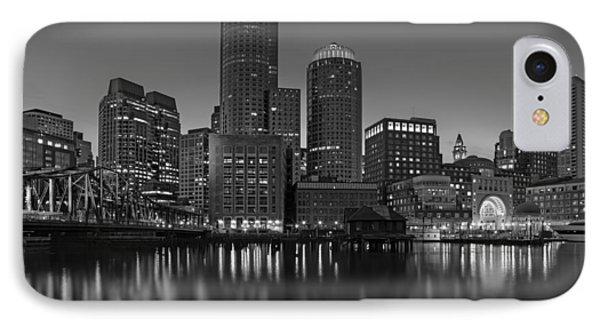 Boston Skyline Seaport District Bw IPhone Case