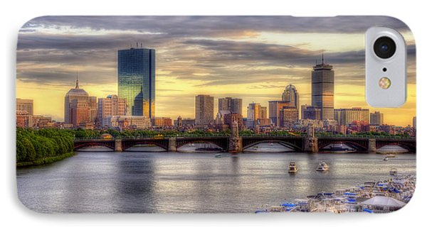 Boston Skyline Sunset - 5 IPhone Case by Joann Vitali