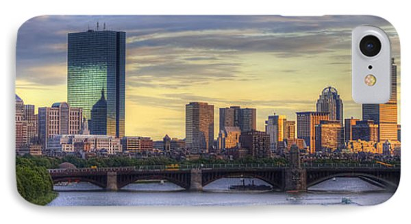 Boston Skyline Sunset Over Back Bay Panoramic IPhone Case by Joann Vitali