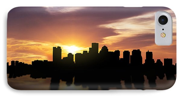 Boston Sunset Skyline  IPhone Case by Aged Pixel