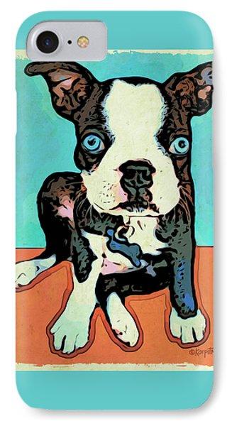 Boston Terrier - Blue IPhone Case by Rebecca Korpita