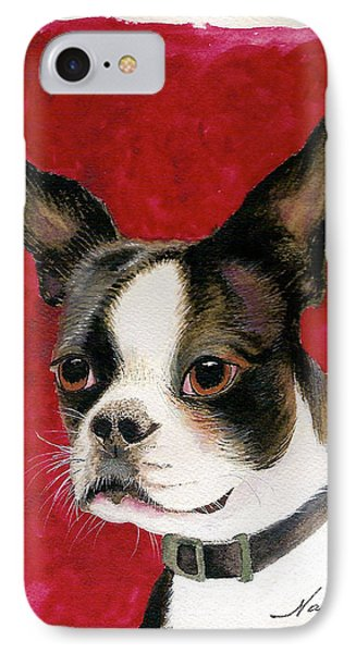 IPhone Case featuring the painting Boston Terrier Dog by Nan Wright