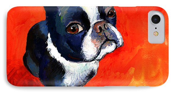 Boston Terrier Dog Painting Prints IPhone Case by Svetlana Novikova