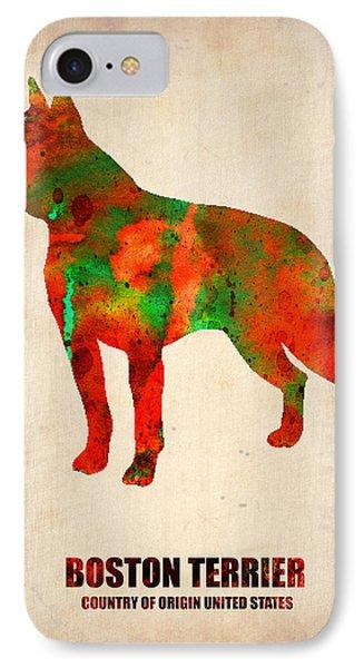 Boston Terrier Poster IPhone Case by Naxart Studio