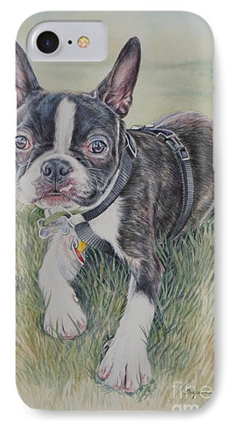 Boston Terrier Puppy IPhone Case by Gail Dolphin