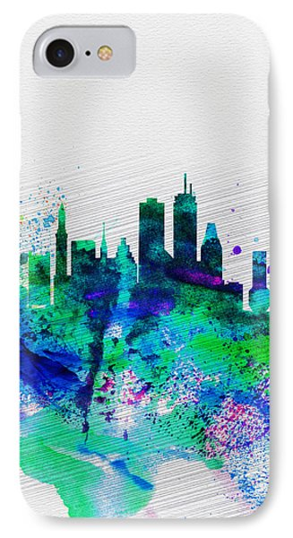 Boston Watercolor Skyline IPhone Case by Naxart Studio